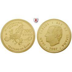 Spanien, Juan Carlos I., 200 Euro 2007, 13,5 g fein, PP: Juan Carlos I. 1975-2014. 200 Euro 13,5 g fein, 2007. 50 Jahre Römische… #coins
