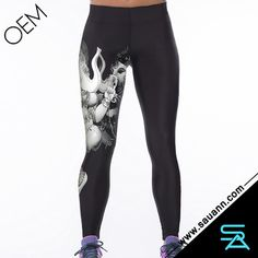 Women's Active Style Elastic Waist Colorful Quick Dry Elephant Print Sport Leggings