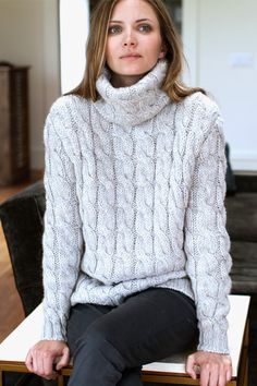 5. A cashmere or wool turtleneck | Big Cable Turtleneck Sweater - Argento | Emerson Fry