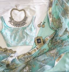 EMILY Top X Sea Green Skirt X Powder Blue Pearl Sequin Dupatta Bling by nebojsaofficial Order Book an Appt Email Indian Wedding Outfits, Indian Outfits, Indian Engagement Outfit, Indian Attire, Indian Wear, Indian Blouse, Saree Look, Indian Designer Outfits, Indian Designers