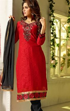Royal Red Color Casual Salwar Kameez