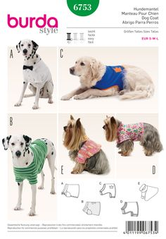 These five makes will make sure your #dog is kept warm and #stylish all year round! Burda #sewing #pattern B6753