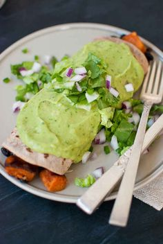 Sweet Potato Burrito Smothered in Avocado Salsa Verde | 27 Delicious And Healthy Meals With No Meat