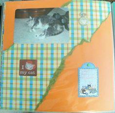 """""""I love my cat"""" Scrapbook layout 12x12"""