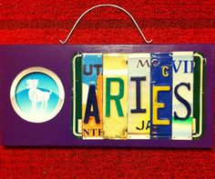 """Handmade """"Aries"""" License Plate Sign on Etsy, $25.00"""