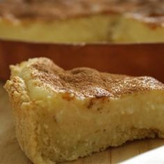 South African recipe - 'Melktert' (Milk tart) -  It is a South African dessert. It is a sweet pastry crust containing a creamy filling made from milk, flour, sugar and eggs and dusted with cinnamon.