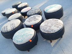 Old tire ottomans