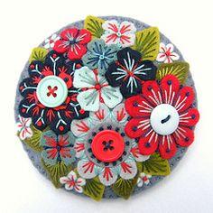 Floral felt brooch