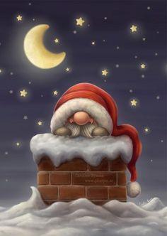 Little Santa in a Chimney by Ploopie.deviantart.com on @deviantART