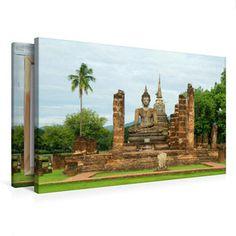 Premium Textil-Leinwand 75 cm x 50 cm quer Bhudda-Statue Buddha Statue in Sukhothai Buddha, Pinterest Instagram, Thailand, Painting, Decor, Art, Photo Calendar, Restoration, Statues
