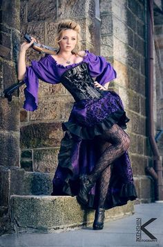 Purple Steampunk Outfit Corset, Purple Blouse, Purple and Black Skirt by SilverLeafCostumes 393.00 USDMy corsets are made with top quality designer fabrics