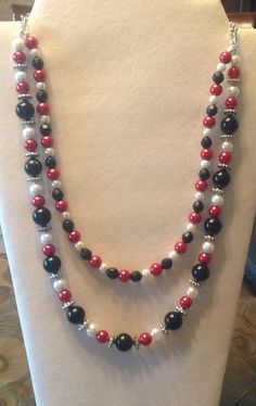 """Fall Collection 2015---Black White Red beaded 22"""" necklace by bonkim. Explore more products on http://bonkim.etsy.com"""