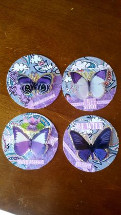 Monochromatic Purple ATCoin Swap! ATC Artist Trading Cards by Kae.Ryan Cork Art, Artist Trading Cards, Atc, Miniatures, Purple, Mini Things, Purple Stuff, Mockup