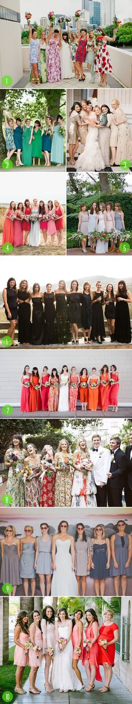 top 10: mismatched bridesmaids