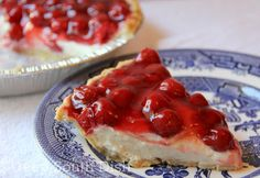 Cherry-O Cream Cheese Pie - an icebox pie made with cream cheese, condensed milk and cherry pie filling.