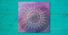 Mandala over acrylic painting by BrightAndCanvas on Etsy