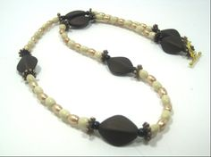 Elegant Satin Bead Brown White Necklace 19 by cynhumphrey on Etsy, $18.99