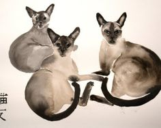Beautiful calico cat original ink and watercolor mixed от bodorka
