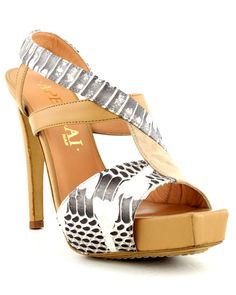 Aperlai Suede Python and Nappa Sandal in Beige (natural) | Lyst