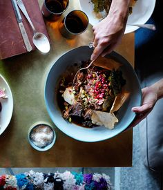 Slow-roasted lamb shoulder with pistachios, pomegranate and vine leaves recipe, Sean McConnell, Monster, Canberra :: Gourmet Traveller Lamb Recipes, Chef Recipes, Cooking Recipes, Slow Cooking, Recipies, Slow Roast Lamb, Marinated Lamb, Pomegranate Recipes, Lamb Shoulder