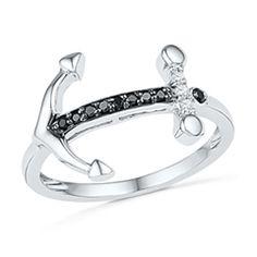 1/10 CT. T.W. Enhanced Black and White Diamond Sideways Anchor Ring in 10K White Gold