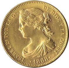 Moneda de oro 10 Escudos Isabel II 1868*73 Madrid.