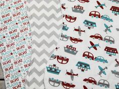 Baby Boy Burp Cloths - Set of 3 - Planes, Cars & Trains and Gray Chevron Burp Cloths with White Dimple Dot Minky - Baby Boy Burp Cloth Set by ChristyRaynDesigns on Etsy