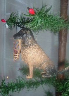 Dresden Dog Sits With Leash & Muzzle...Antique Christmas Ornament