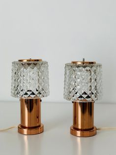 Set of vintage Bohemian crystal table lamps, produced by Lustry Kamenický Šenov, Vintage Bohemian, Table Lamps, Craft Supplies, 1960s, Candle Holders, Copper, Bulb, Candles, Crystals