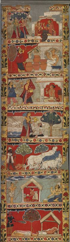Scenes from the legend of Gazi - part 1 -  a scroll painting - Murshidabad District Bengal India - Circa 1800 A story of miracle-working Muslim saints, including Gazi and Manik. This type of long scroll painting was used by itinerant storytellers in rural Bengal, as a visual aid to a spoken narration of the myths and exploits of the painted scenes.