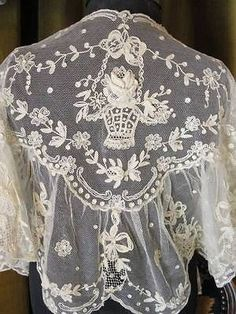 Antique Limerick Tambour Lace Bridal Shawl 3D Roses Bride Doll Child Collector