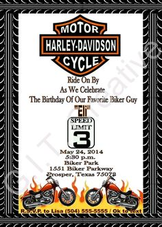 Harley davidson party supplies use orange crush bottles and wrap harley davidson birthday party invitation filmwisefo