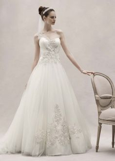 David's Bridal Wedding Dress: One Shoulder Tulle Ball Gown with Lace Appliques Style CKP421, Ivory, 4