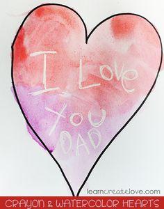 Crayon and Watercolor Hearts