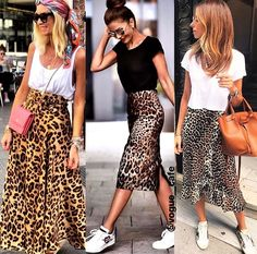 Casual Fall Outfits That Will Make You Look Cool – Fashion, Home decorating Animal Print Outfits, Animal Print Skirt, Animal Print Fashion, Leopard Print Skirt, Printed Skirt Outfit, Skirt Outfits, Casual Outfits, Leopard Skirt Outfit, White Outfits