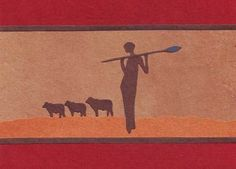 Red Handcrafted 'Grazing the Land' African Card