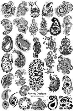 Paisley Drawing, Paisley Art, Paisley Fabric, Paisley Design, Paisley Pattern, Mandala Design, Basic Mehndi Designs, Finger Henna Designs, Henna Patterns