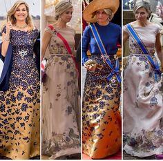 Máxima draagt de Prinsjesdagjaponnen van 2016 en 2015 op de feesten in Noorwegen ter ere van de 80e verjaardag van Koning Harald, mei 2017
