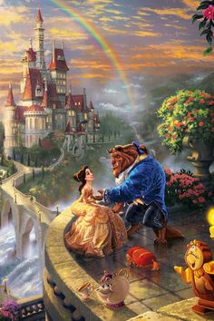 Beauty and the beast. Thomas Kinkade Beauty and the beast. Disney Pixar, Walt Disney, Disney Amor, Cute Disney, Disney And Dreamworks, Disney Magic, Disney Movies, Thomas Kinkade Disney, Images Disney