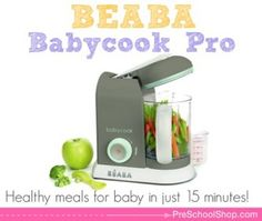 The BEABA Babycook Pro - one handed steam & blender system that makes healthy organic meals for baby in just 15 minutes! #momapproved www.preschoolshop.com/feeding/utensils-and-tools/beaba-babycook-pro/