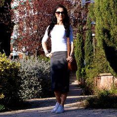 Blog de Moda La Caprichossa: LOOK primavera, casual con falda tubo y Converse All STAR #kissmylook