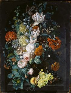 A Vase of Flowers  Margareta Haverman  (Dutch, active by 1716–died 1722 or later)    Date:      1716  Medium:      Oil on wood  Dimensions:      31 1/4 x 23 3/4 in. (79.4 x 60.3 cm)  Classification:      Paintings  Credit Line:      Purchase, 1871  Accession Number:      71.6