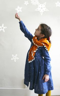 Shirt dress with hand printed snowflakes and tassel scarf