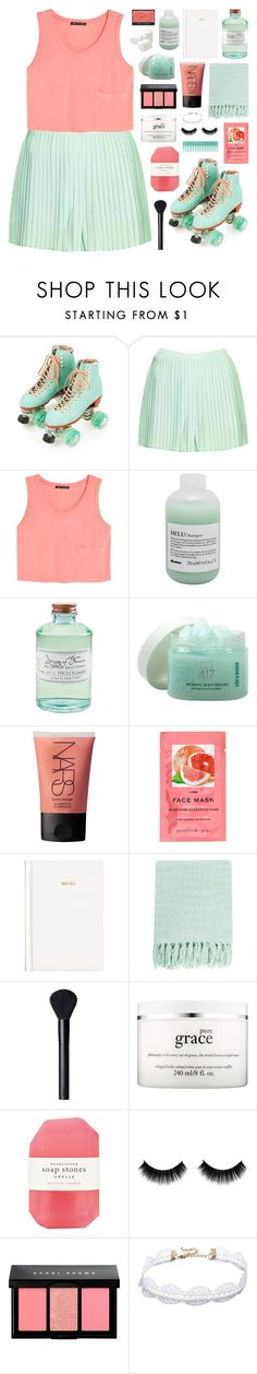 """//pina colada//"" by bananafrog ❤ liked on Polyvore featuring Moxi, Topshop, MANGO, Davines, Library of Flowers, Minus 417, NARS Cosmetics, H&M, Surya and philosophy"