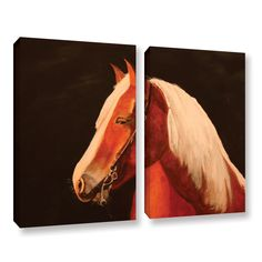 Horse Painted by Lindsey Janich 2 Piece Gallery-Wrapped Canvas Set