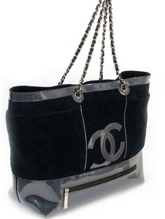 Chanel Handbag - Black Terry Cloth Oversized Tote