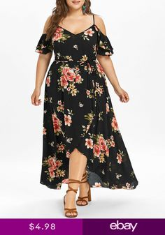 1bc15f40118 Plus Size Cold Shoulder Short Sleeve Floral Print Womens Bohemian Overlap  Dress