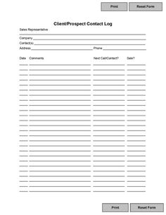 Free Printable Client Contact Sheet And Log To Tracking Sales Prospects And  Contacts