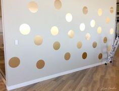 How to DIY a Gold Polka Dot Wall #decor by LiveLoveLaughMyLife