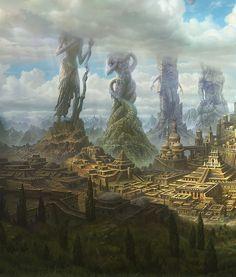 Babylon (fantasy landscape illustration by Ivan Troitsky). Fantasy Artwork, Fantasy Concept Art, Dark Fantasy Art, Final Fantasy, Anime Fantasy, Fantasy City, Fantasy Places, Fantasy World, Fantasy Setting